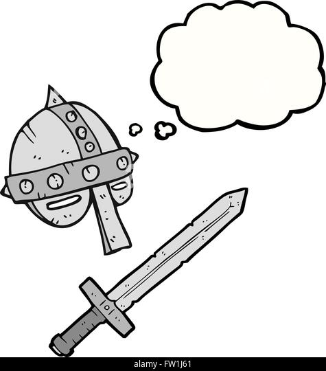 freehand drawn thought bubble cartoon medieval helmet - Stock-Bilder