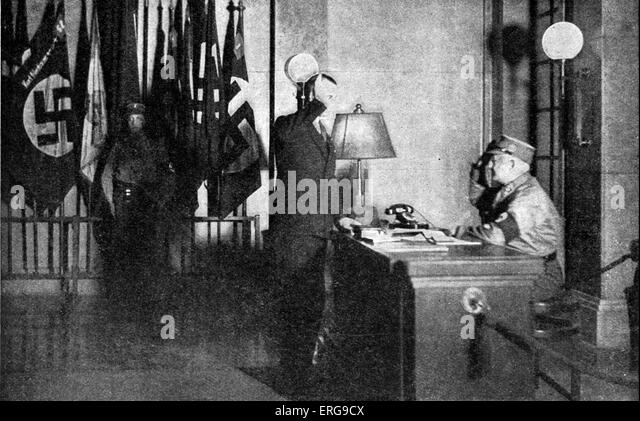 Ante- room of the Brown House - Nazi party head quarters in Munich, Germany. Early 1930s. With flags of Bavarian - Stock Image