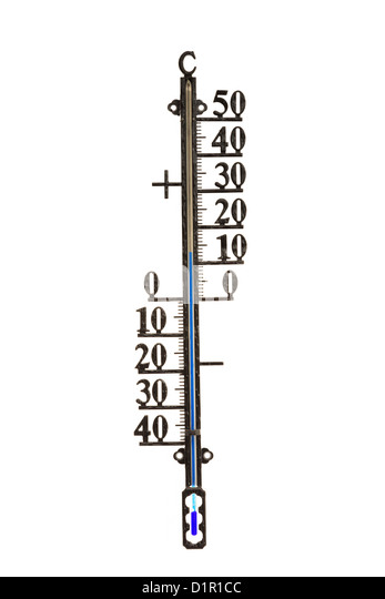 Weather thermometer showing temperature in degrees centigrade with positive and negative numbers isolated on a white - Stock Image