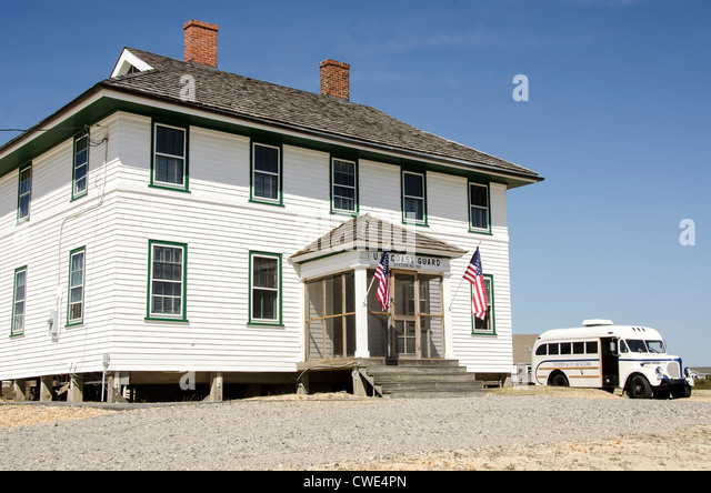 Wash Woods Coast Guard Lifesaving Station entrance historic building old school bus, Corolla, Outer Banks, North - Stock Image