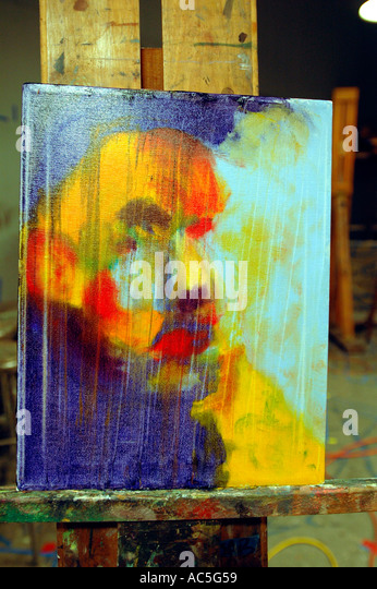 Abstract oil painting portrait of model in art class - Stock Image