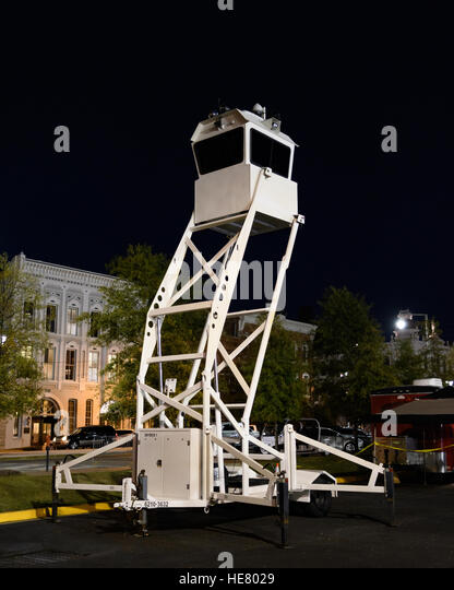 Police observation tower fully extended. - Stock Image