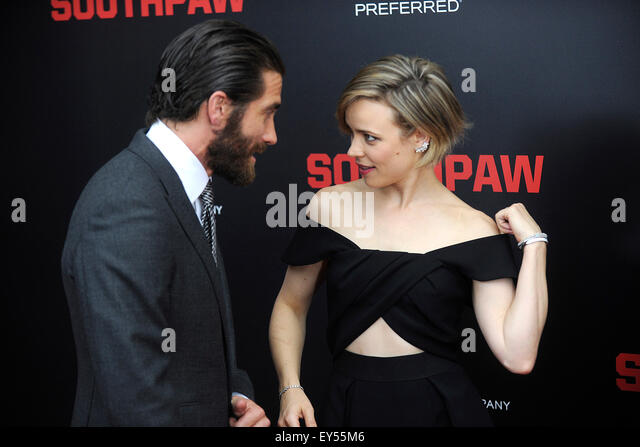 New York City. 20th July, 2015. Jake Gyllenhaal and Rachel McAdams attend the 'Southpaw' New York premiere - Stock Image