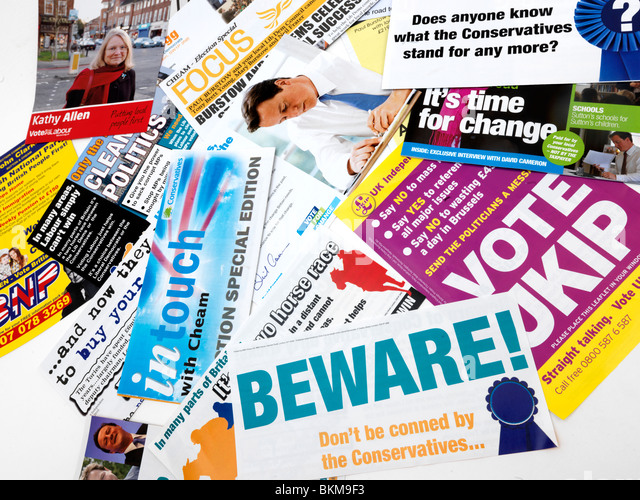 Political Leaflets from a Marginal Seat for General Election 2010 - Stock Image