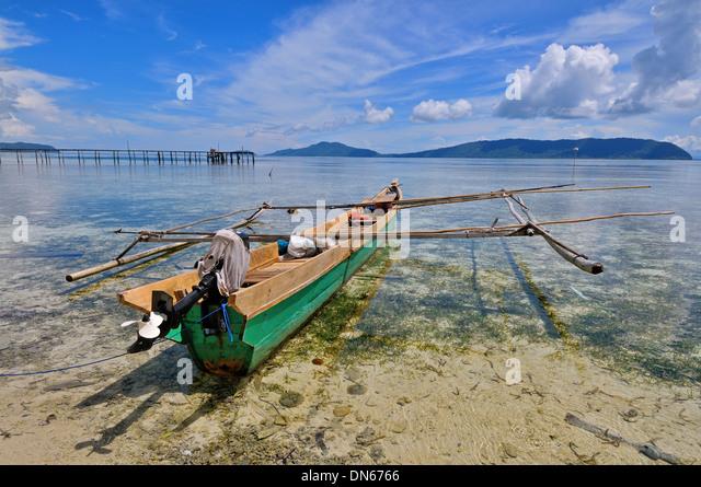 Arborek fisherman boat, North Raja Ampat, West Papua, Indonesia - Stock Image