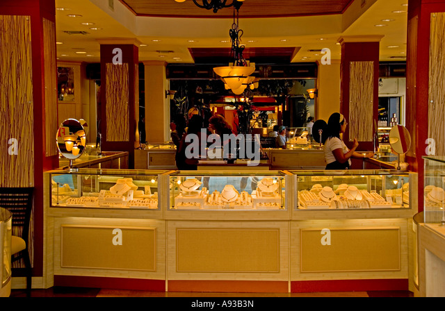 George Town Grand Cayman interior of jewelry store - Stock Image