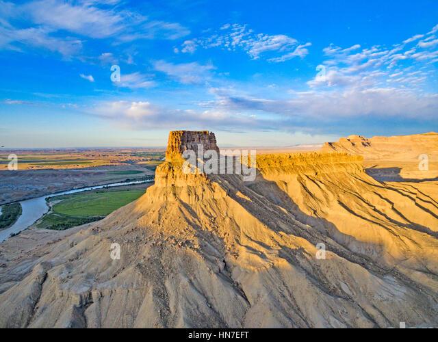 Gunnison Butte and Green River, Utah,  Green River town beyond - Stock-Bilder