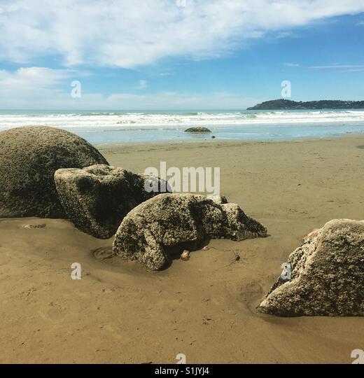 Moeraki boulders - Stock Image