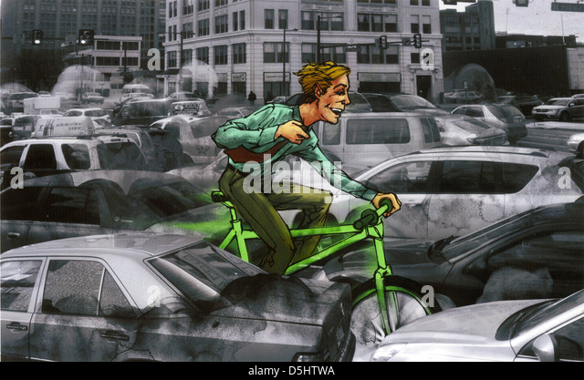 Illustrative image of man riding green bicycle through heavy traffic - Stock Image