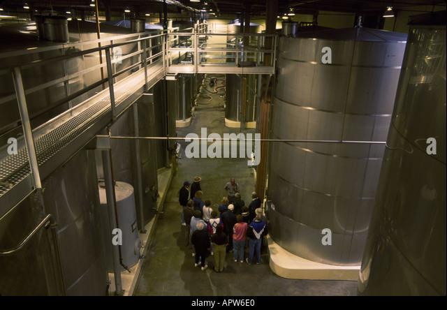 Washington Northwest Columbia Crest Winery tank fermentation storage tour group Columbia Snake River Cruise - Stock Image