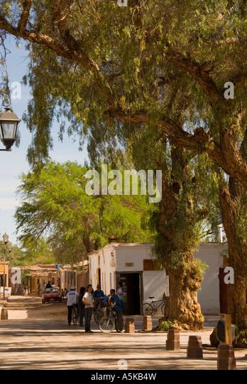 Chile San Pedro de Atacama  town  scenic landscape street - Stock Image