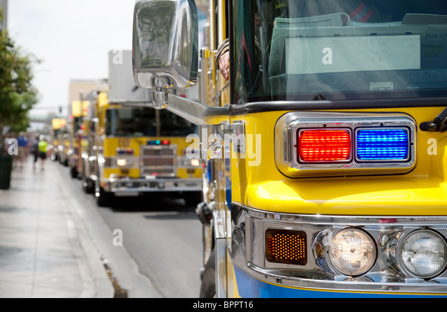 Clark County firetrucks on the strip, Las Vegas Nevada USA - Stock Image
