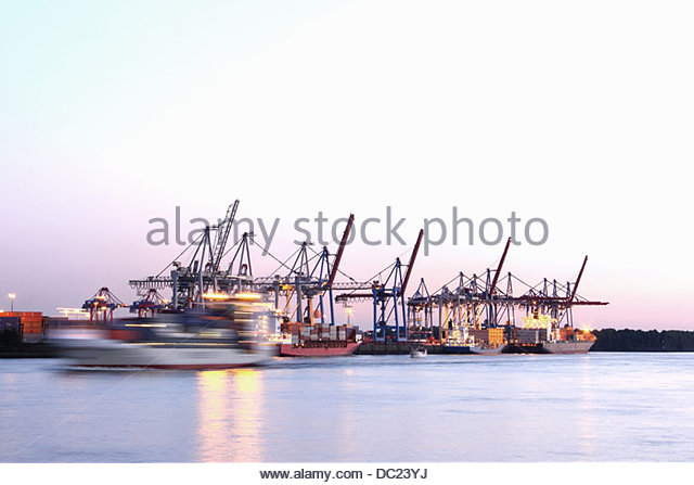 Harbour at Hamburg, Germany - Stock Image