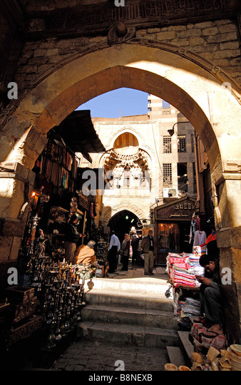 CAIRO, EGYPT. A street in the Khan el-Khalili Bazaar in Islamic Cairo. 2009. - Stock Image