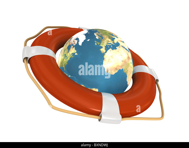 Life Belt with earth - Stock Image