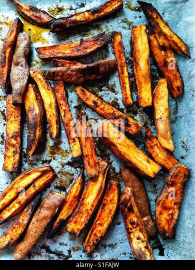 Sweet potato wedges - Stock-Bilder