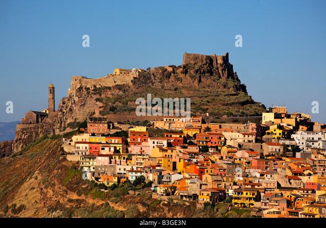 Italy Sardinia Castelsardo village - Stock Image