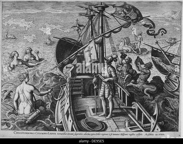 Christophorus Columbus Ligur (Americae Retectio), 1591. Artist: Galle, Philipp (1537-1612) - Stock-Bilder