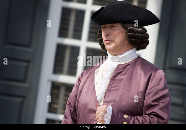 Period actor in Colonial Williamsburg, Virginia. - Stock Image