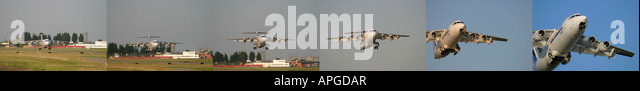 Composite image Air France Cityjet British Aerospace BAe 146 200 taking off at London City Airport UK - Stock Image