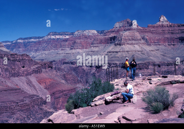 Arizona Grand Canyon North Rim red cliffs deep valley iconic view clear day - Stock Image