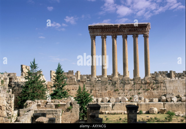 Roman Temple of Jupiter, Baalbek archaeological site, UNESCO World Heritage Site, Bekaa Valley, Lebanon, Middle - Stock Image