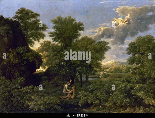 Nicolas Poussin (1594-1665). French painter. Spring (The Earthly Paradise). 1660. Classicism. Oil. Louvre Museum. - Stock Image