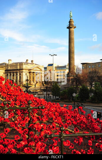 The Weeping Window ceramic poppies on display at Liverpool's St George's Hall. - Stock Image