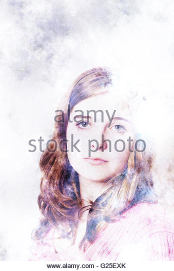 girl portrait poetic and ethereal - Stock Image