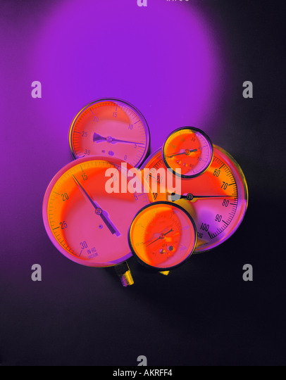 colorful pressure guages - Stock Image