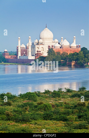 Taj Mahal, UNESCO World Heritage Site, across the Jumna (Yamuna) River, Agra, Uttar Pradesh state, India, Asia - Stock Image