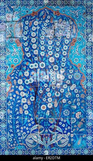 Panel of Iznik tiles in the portico of the Rustem Pasha Mosque, Tahtakale, Istanbul, Turkey - Stock Image