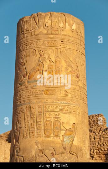 Egypt Kom Ombo Temple outdoor columns  pillars hieroglyphics - Stock Image