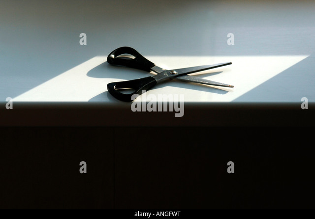 A Still-Life Image Of A Pair Of Scissors Lying Flat & Open. - Stock Image