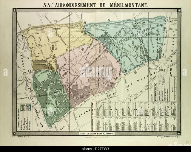 MAP OF 20TH ARRONDISSEMENT DE MÉNILMONTANT PARIS FRANCE - Stock Image