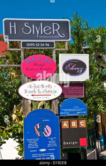 Display of store and business signs, Gustavia, Saint Barthelemy - Stock Image