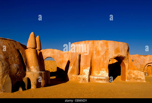 Famous movie set of Star Wars movies in Sahara Desert near Tozeur, Tunisia - Stock Image