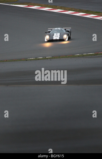 1969 Lola T70 MKIII B (owned by Le Mans Classic Japan sponsor Richard Mille). Le Mans Classic car race, Fuji Speedway, - Stock Image