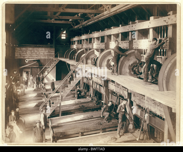 Industry Clean up day Deadwood Terra Gold Stamp Mill Dakota USA America United States North America 1888 Phot - Stock-Bilder
