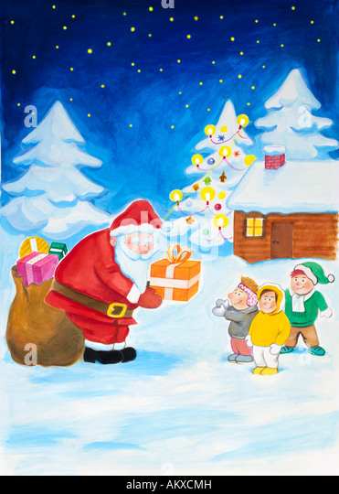 Santa Claus hands gifts to children, illustration - Stock Image