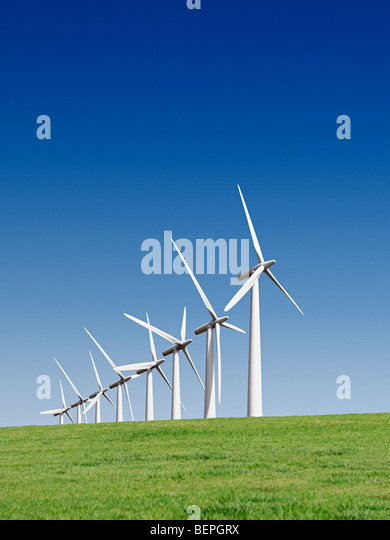 Wind Turbines on a Wind Farm, UK. - Stock Image