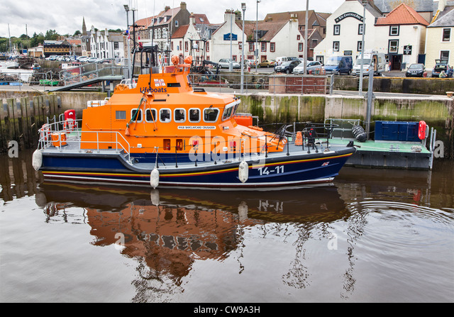 Lifeboat at Eyemouth, Lothian, Scotland - Stock Image