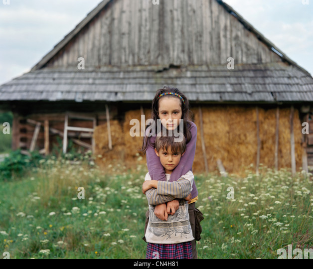 Portrait of siblings, Nowica, Poland - Stock Image