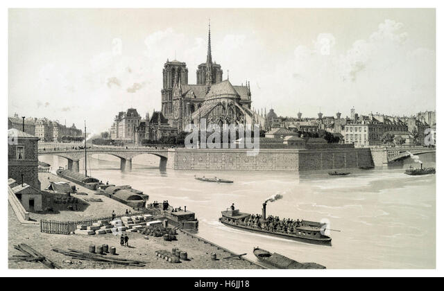 Isle de Paris featuring Notre Dame cathedral 1800's illustration with early pleasure boat and passengers - Stock-Bilder