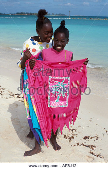 Bahamas New Providence Nassau Prince George Dock Woodes Rogers Walk baskets souvenirs - Stock Image