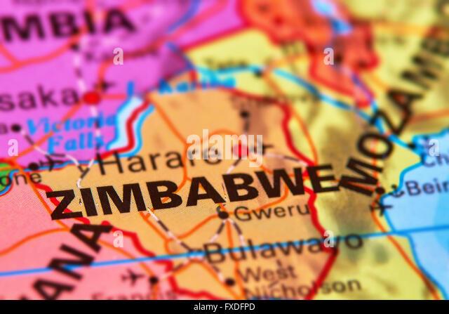 Zimbabwe Country on the World Map - Stock Image