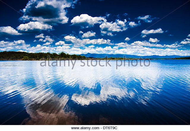 Dark Contrasted And Atmospheric Landscape Scene Of Beautiful Lake Samsonvale Otherwise Known As North Pine Dam, - Stock Image