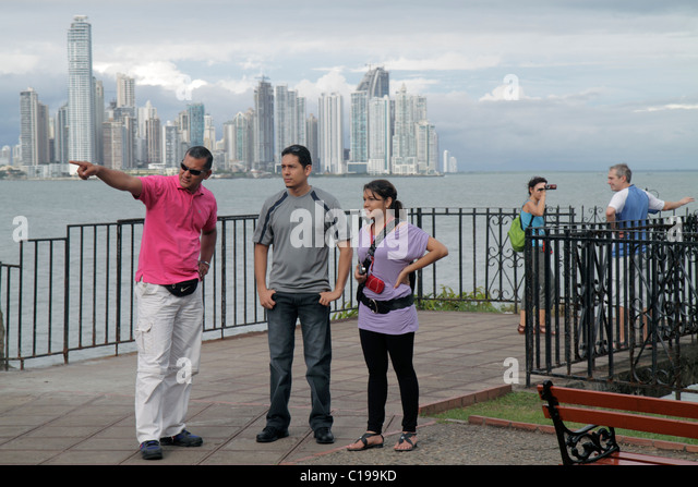 Panama City Panama Casco Viejo San Felipe Bahia de Panama Pacific Ocean waterfront promenade skyline view downtown - Stock Image