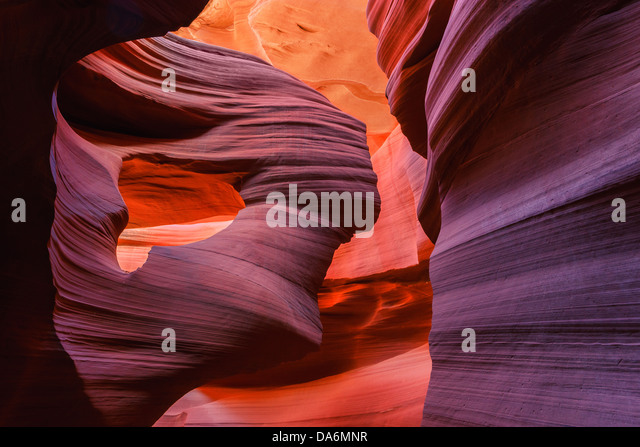 Lines and structures at Lower Antelope Canyon, Page, Arizona - Stock Image