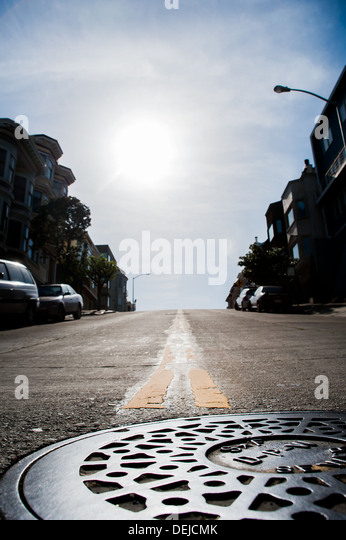 San Francisco streets with man hole - Stock-Bilder
